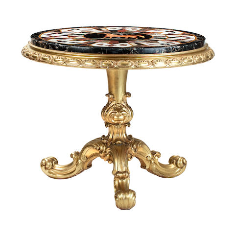 A George IV and later giltwood and specimen table