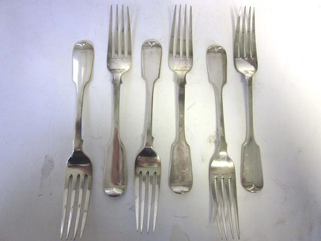 A 19th century collection of silver Fiddle pattern flatware various dates and makers  (22)