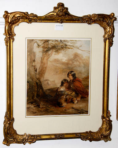 Francis William Topham (British, 1808-1877) Gypsies signed, watercolour, 33.5 x 28.5cm, Joseph Murray Ince (Bristish, 1806-1859), Welsh Border Country, signed and dated 1844, watercolour, 17 x 25cm. John Warwick Smith (British, 1749-1831), The New Embankment Across Treath Manor, inscribed label verso, watercolour, 15 21.5cm. (3)