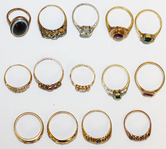 Fourteen gem set rings