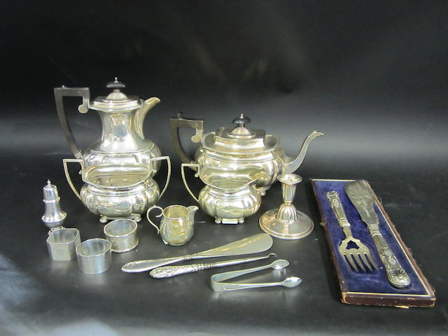 A silver four piece tea service Birmingham 1946 - 1947  (qty)