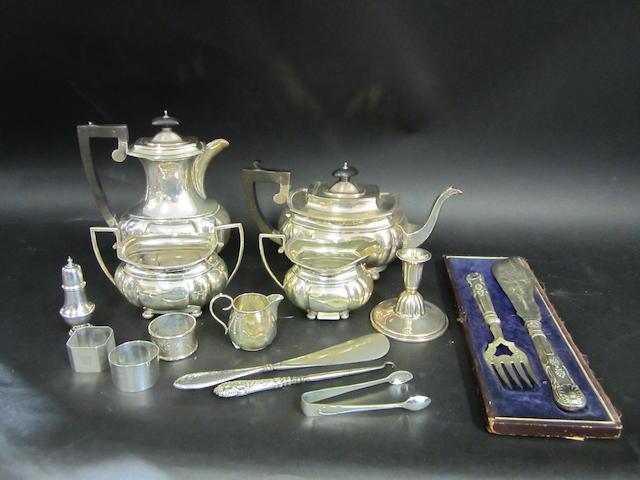 A silver four piece tea service Birmingham 1946 - 1947  (qty)