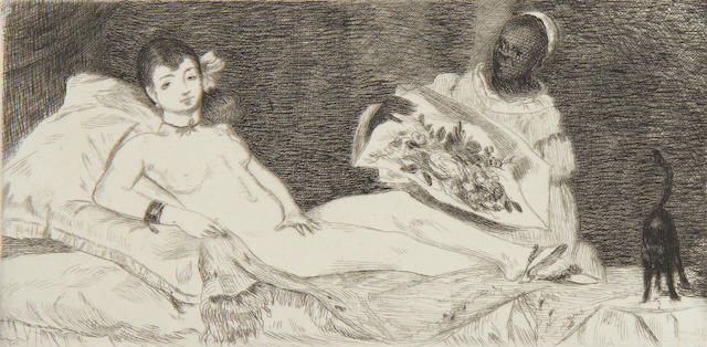 Edouard Manet (French, 1832-1883) Olympia  etching, 1867, sixth and final state, 88 x 178mm (3 1/2 x 7in)(PL)(unframed)