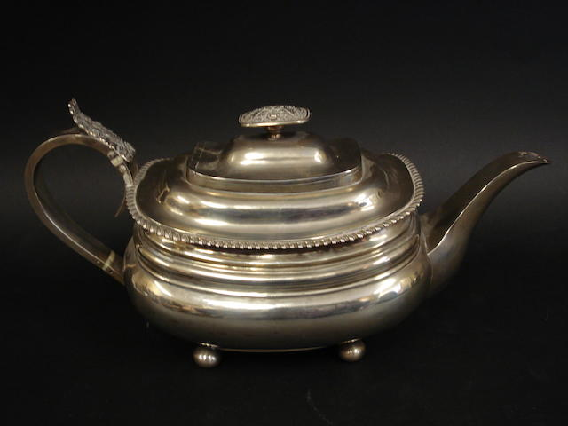 A George IV silver teapot by William Welch, Exeter 1823