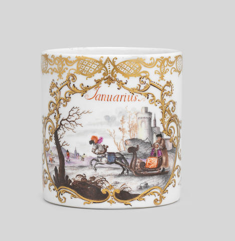 A Meissen 'Months of the Year' mug, circa 1745