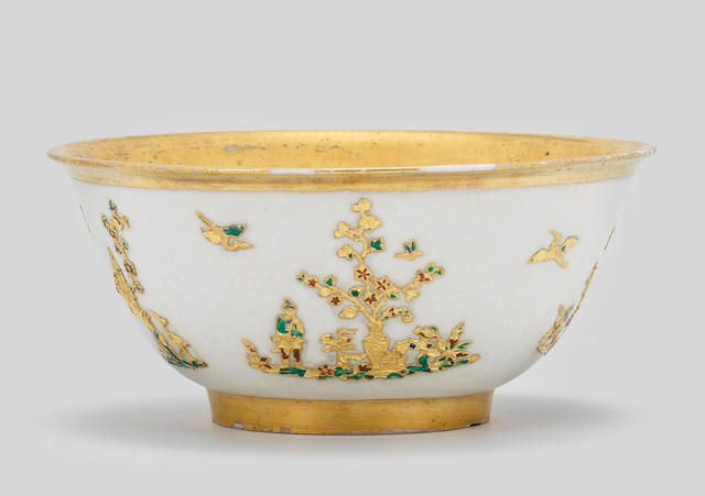 A very rare Meissen slop bowl with gold paillon and enamel decoration, circa 1720