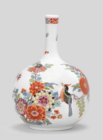 A rare Meissen Augustus Rex bottle vase, circa 1730