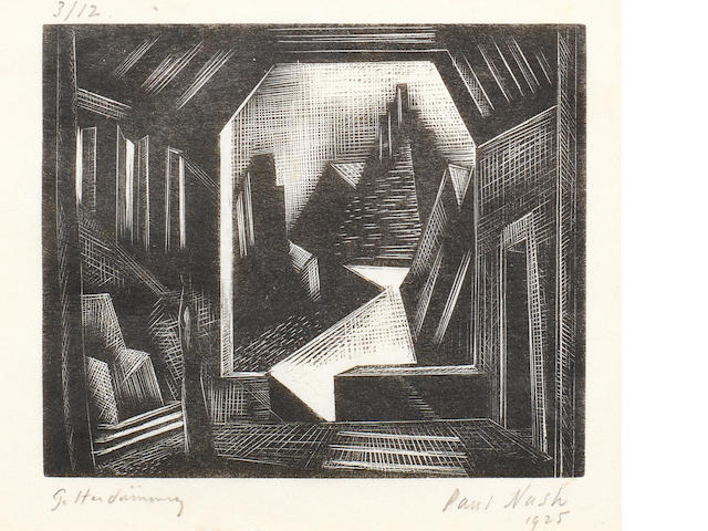 Paul Nash (British, 1889-1946) Das Rheingold Scene 1 (Postan W58) The rare woodcut, 1925, on laid japan, signed, dated, inscribed 'Gotterdämmerung' and numbered 3/12 in pencil, with full margins, 78 x 92mm (3 x 3 5/8in)(PL)