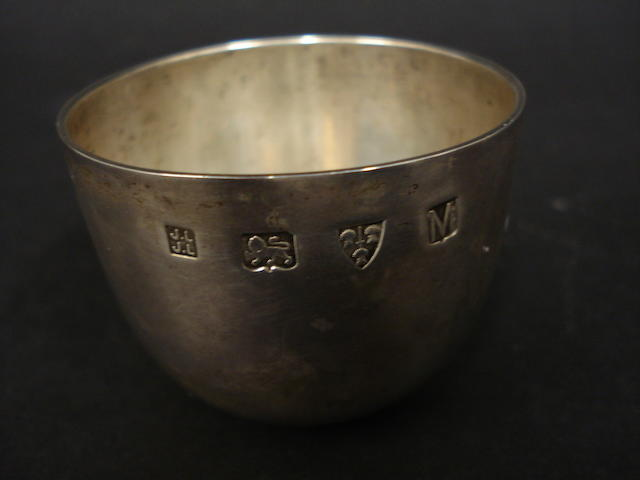 A silver tumbler cup by John & Joyce Lowe, Chester 1962