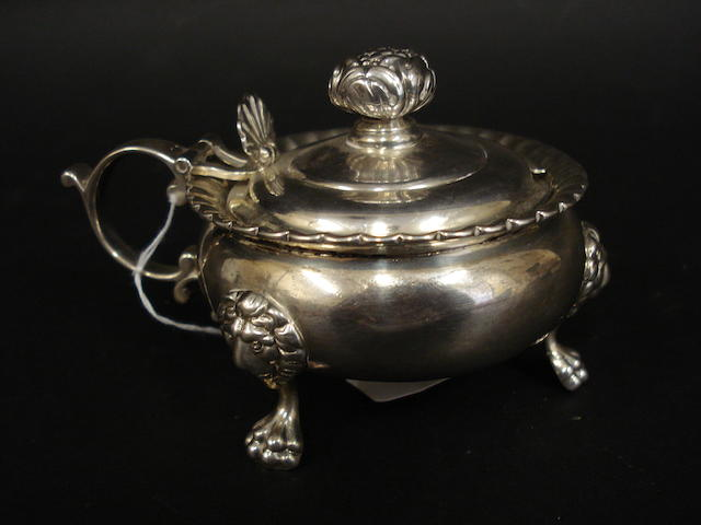 A George III Scottish silver mustard pot by James McKay, Edinburgh 1817