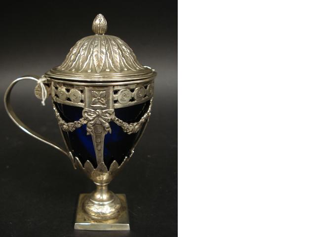 A German silver pedestal mustard pot by Karl Kurz, Kesselstadt,  imported by Theodor Hartmann, London 1901