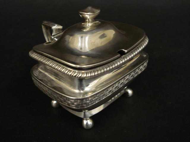 A George III silver oblong mustard pot by Danile Pontifex, London 1806