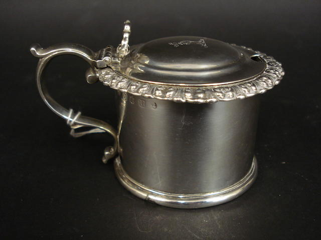 A George III Scottish silver mustard pot by James Mckay, Edinburgh 1826
