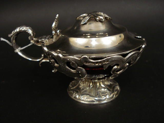 A Victorian Scottish silver pedestal mustard pot by J H & S, Edinburgh, 1850