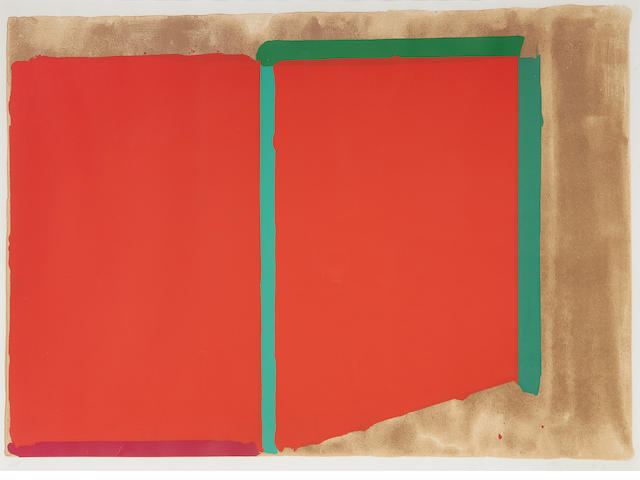 John Hoyland RA (British, 1934-2011) Reds/greens Colour lithograph, 1969, signed, dated and inscribed 'AP' in pencil, an artist's proof aside from the numbered edition of 75, 585 x 900mm (23 x 35 1/2in)(I)