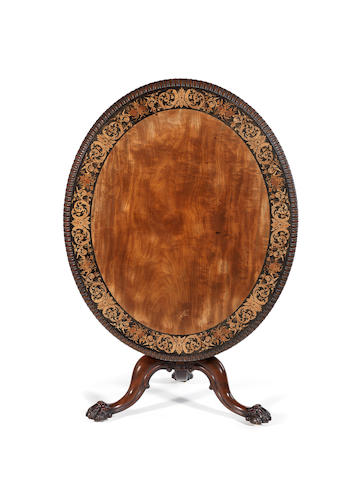 A William IV mahogany and marquetry centre table  by Gillows