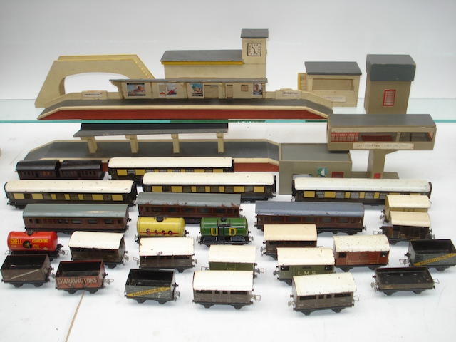 Trix Twin railway coaches, rolling stock and track side wooden buildings lot