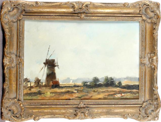 Roy Petley (British, born 1951) Windmill in landscape