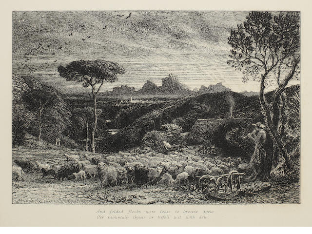 Samuel Palmer (British, 1805-1881) Opening the Fold, or Early Morning Etching, 1880, state eight of ten, with two lines of verse added in the lower margin 'And folded flocks were loose to browse anew, O'er mountain thyme or trefoil wet with dew', as published in the second edition of 'An English Version of the Eclogues of Virgil' by the artist in 1884, on watermarked laid, with wide margins, 152 x 215mm (6 x 8 1/2in)(PL)  unframed