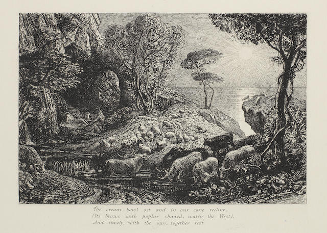 Samuel Palmer (British, 1805-1881) Moeris and Galatea; The Homeward Star; The Sepulchre Three etchings, 1883-84, each state two of four, with lines of verse added in the lower margins, as published in the second edition of 'An English Version of the Eclogues of Virgil' by the artist in 1884, on watermarked laid, with wide margins, 133 x 190mm (5 1/4 x 7 1/2in)(PL)  3 unframed