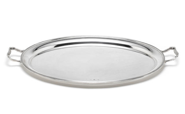 A silver two-handled tray by Lowe & Sons, Chester 1962