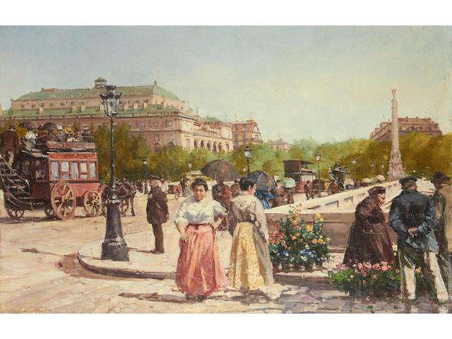 Leon Zeytline (French, 1885-1962) Busy street scene