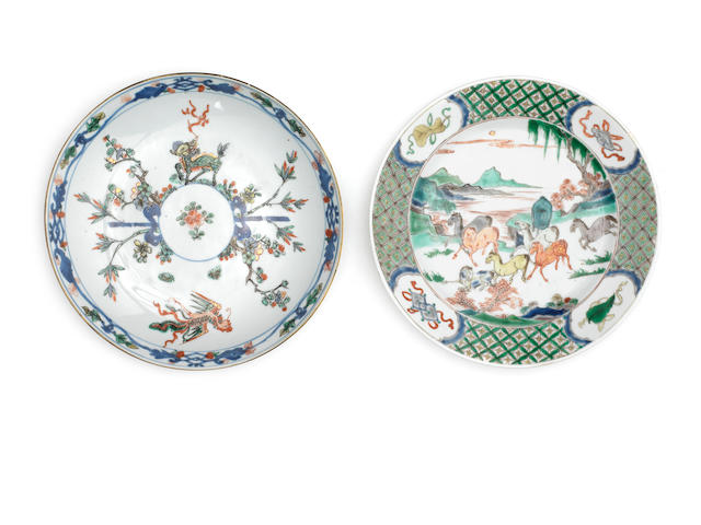 Two polychrome enamel dishes Qing Dynasty