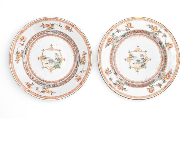 A pair of rouge-de-fer export dishes 18th century