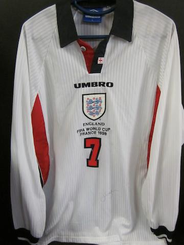 1998 France World Cup David Beckham match issued hand signed England shirt