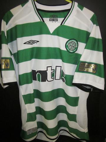 2002/03 Henrik Larsson match worn Celtic shirt
