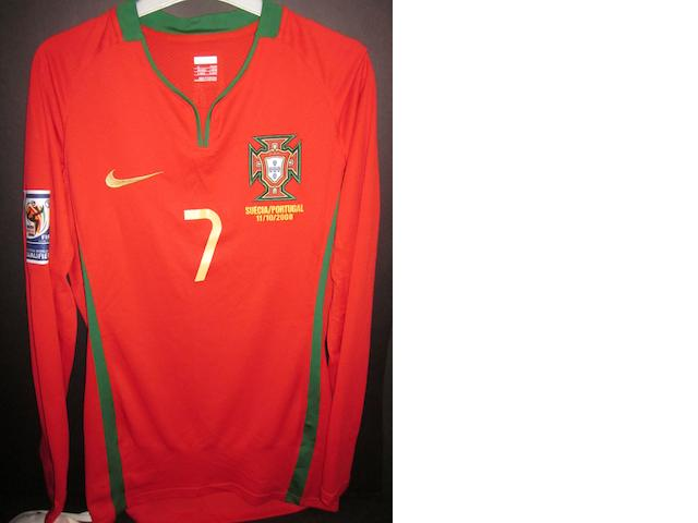 2008 Cristiano Ronaldo match worn Portugal shirt