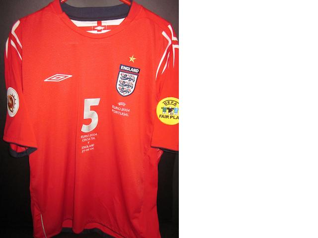 2004 European Championship - John Terry match worn England shirt