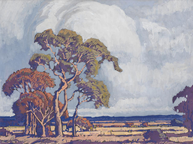 Jacob Hendrik Pierneef (South African, 1886-1957) Trees and storm clouds on the veld