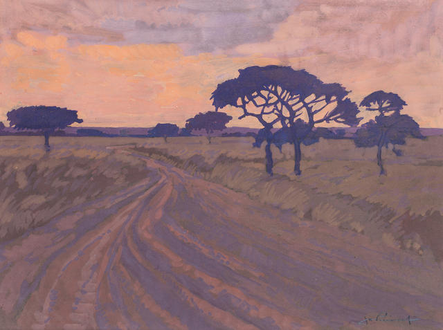 Jacob Hendrik Pierneef (South African, 1886-1957) Country track at sunset