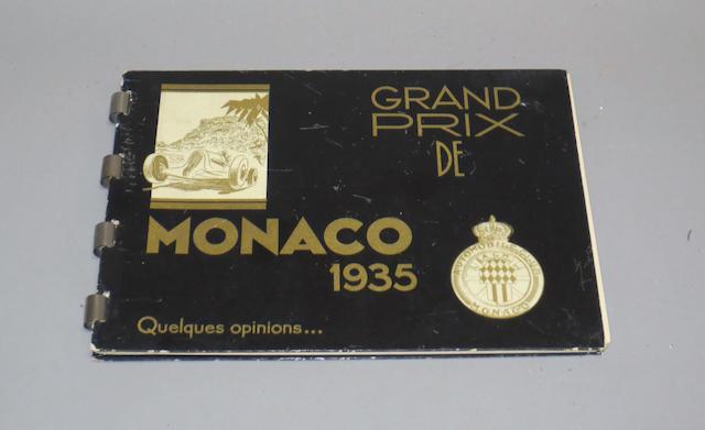 A 1935 Automobile Club de Monaco 'Grand Prix de Monaco Quelques Opinions' album,