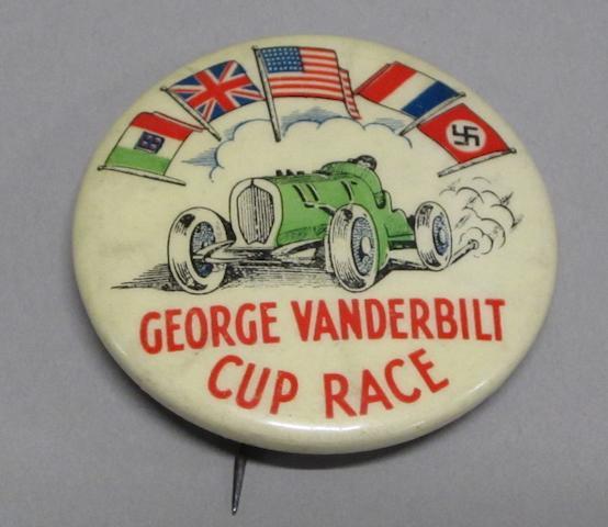 A 1930s Vanderbilt cup lapel badge and an assortment of Sebring memorabilia,