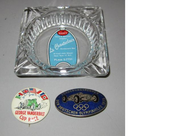Two pre-war lapel badges and an assortment of 1970s Sebring memorabilia,