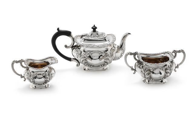 An Edwardian silver three-piece tea service by Charles Weale, Birmingham 1901  (3)