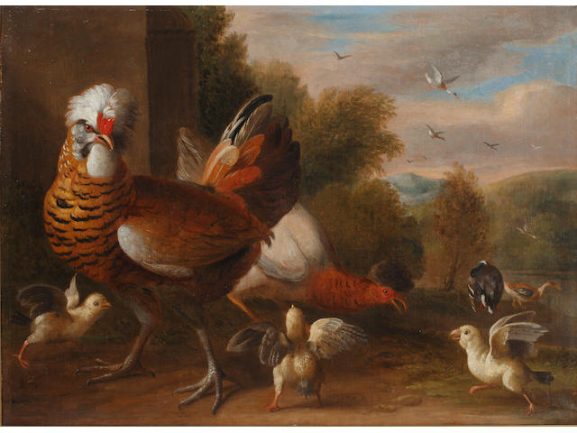 Manner of Melchior de Hondecoeter, circa 1800 Pigeons, cockerels, chicks - a pair<BR />Oil on canvas<BR />63 x 85cm