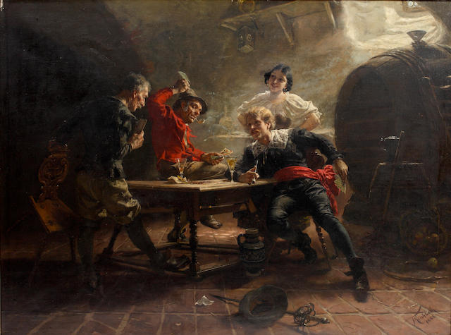 JOHAN KIRCHBACH The Card Players<BR />Signed and dated 1888<BR />Oil on canvas<BR />72  x 97cm