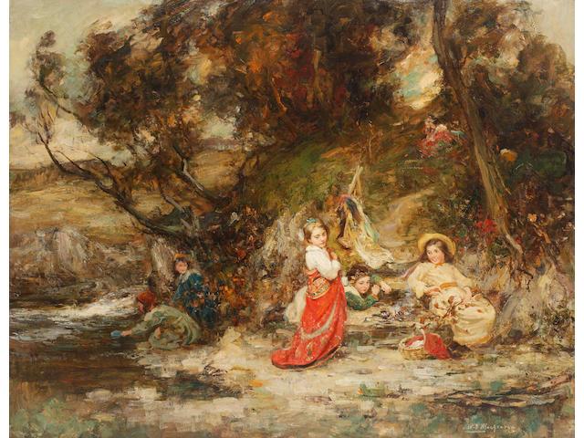 WILLIAM STEWART MACGEORGE 'My Lady's Train'<BR />Oil on canvas<BR />85 x 110cm