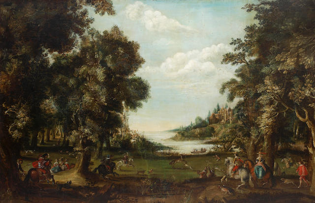 Circle of Pieter Meulener (Antwerp 1602-1654) The stag hunt