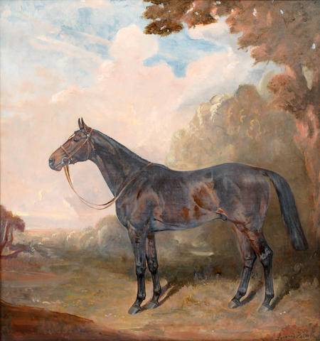 JAMES LYNWOOD PALMER Portrait of a hunter<BR />Oil on canvas<BR />80 x 74cm