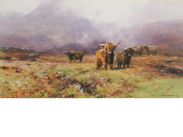DAVID SHEPHERD Highland cattle<BR />A signed print