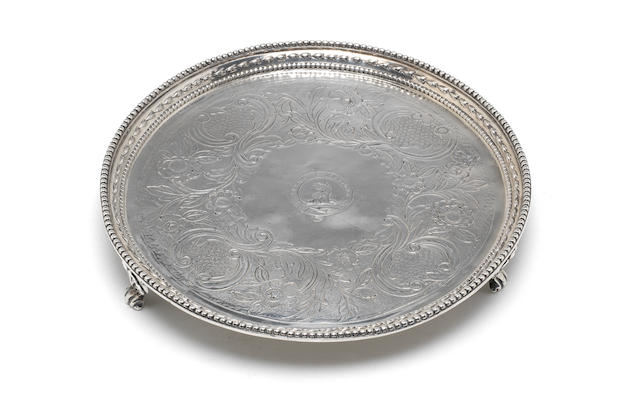 A George III silver circular salver by John Crouch I & Thomas Hannam, London 1776