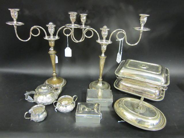 A silver three piece tea service London 1905  (14)