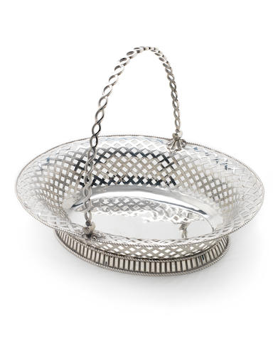 A George II silver swing-handled basket by Aldridge & Stamper, London 1755