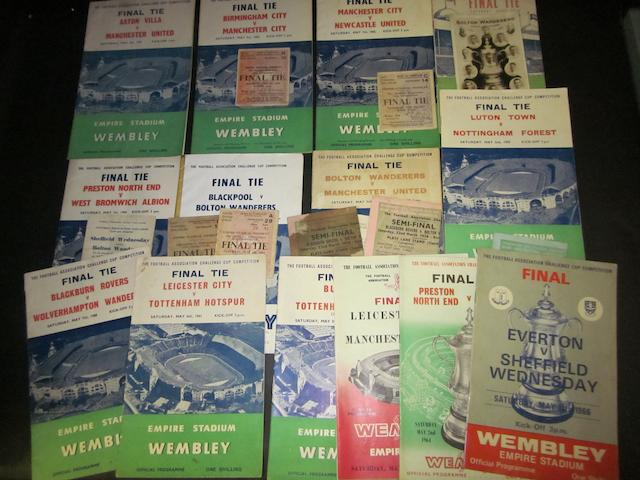 A collection of 1950's to early 1960's F.A. Cup final programmes and tickets