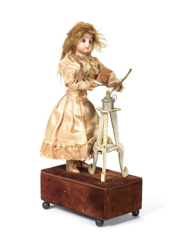 Rare Renou automaton of a little girl with hair tongues, circa 1890