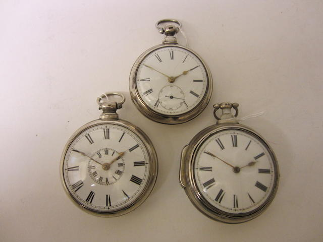 A George III silver pair cased, verge pocket watchby Watkins of Abergavenny, Birmingham 1824 (3)